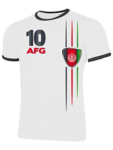Afghanistan 5840 Fussball Fanshirt Fan Shirt Tshirt Fanartikel Artikel Männer Herren Ringer T-Shirts Weiss Schwarz M