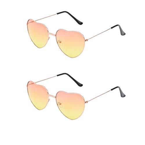 Jieddey Herz Sonnenbrille,2 PCS Hippy Specs Brille Hippie Brille Metallrahmen Retro Vintage Sonnenbrille für Frauen Damen Mädchen Festival 60er 70er Jahre Hippie Phantasie Kostüm Accessoire Gold