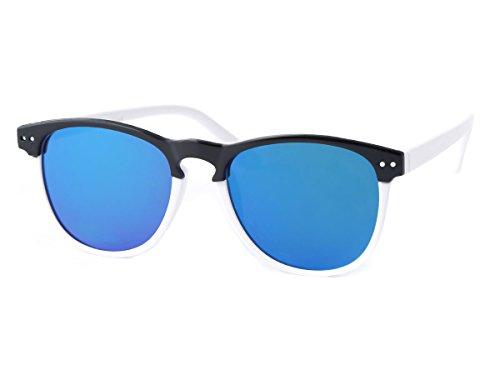 Alsino Alsino Kinder Sonnenbrille Clubstyle 60er Jahre Jungen Mädchen Vintage Kindersonnenbrille markanter Halbrahmen, Variante wählen:K-129 schwarz weiß