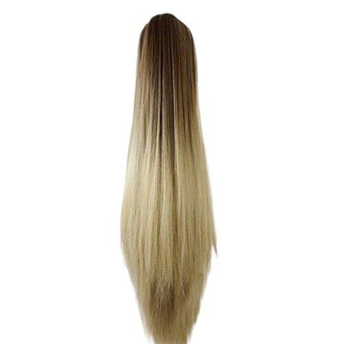 LILICAT Perruque de Femmes Femmes Mode Pince Pince Longue Ligne Droite Queue de Cheval Extensions de Cheveux Perruque postiche Longue Perruque Extension de Cheveux raides (C)