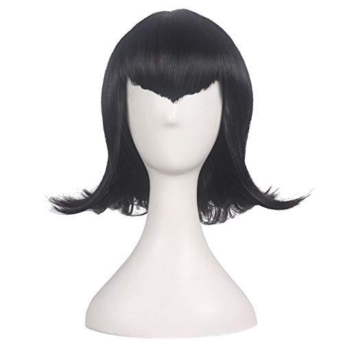 LJYNB Hotel Transylvania 2 Mavis cosplay peluca mujer Mavis peluca de pelo negro con gorro de pelo gratis