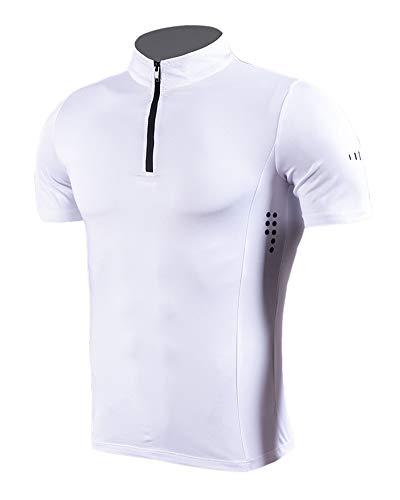 Maglia a Manica Corta Compression da Uomo Sport Baselayer Asciugatura Rapida Collo Alto T-Shirt per Esecuzione di Fitness