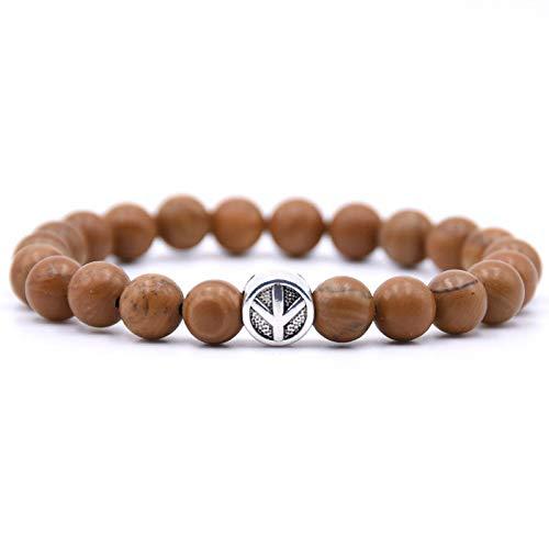 Stenen armband, donkerbruin houten patroon armband boeddhisme vliegtuigen Trendy rozenkrans Lava kraal natuursteen mannen Yoga armband voor vrouwen sieraden bijwonen feesten en geven hun vrienden het beste geschenk.