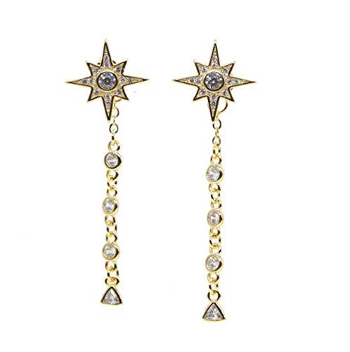 Yhhzw Girasol Delicados Pendientes Gota De Diamantes De Imitación Linda Estrella Pendiente De Oro Mujeres Borla Larga Cuelga Joyería Llamativa