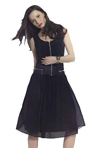 Dzhavael Couture Zippered Tank Dress with Chiffon Skirt (Black, Large)