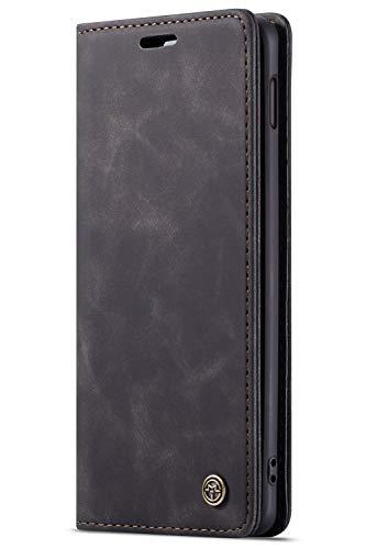 Handyhülle, Premium Leder Flip Schutzhülle Schlanke Brieftasche Hülle Flip Case Handytasche Lederhülle mit Kartenfach Etui Tasche Cover für Samsung Galaxy S10,Schwarz