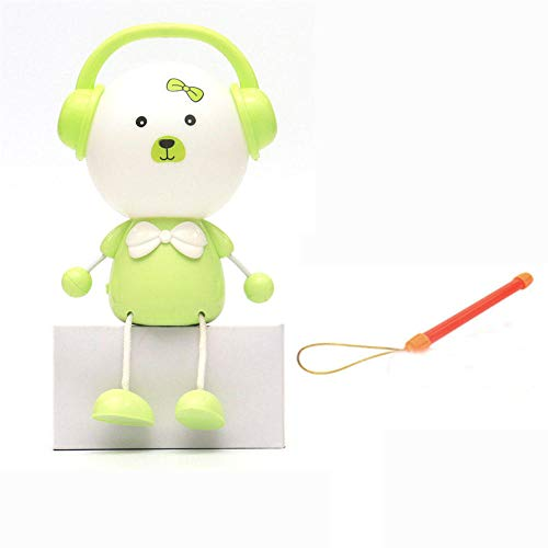 Lámpara de escritorio de mesa para el cuidado de los ojos, luz LED de lectura, luz regulable, anillo de luz LED para niñas con luz nocturna colorida, control táctil sensible A-verde
