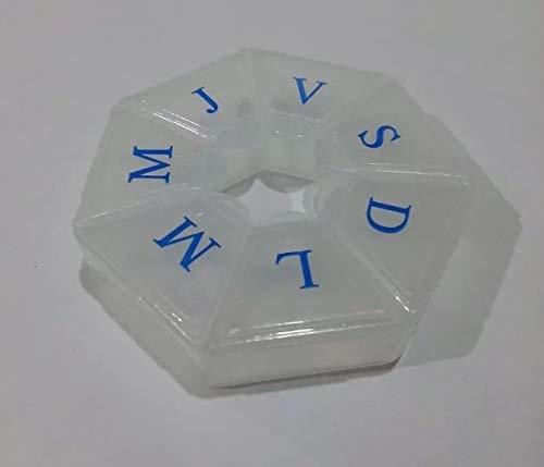 EUROXANTY® Pastillero semanal | Organizador de pastillas transportable | 7 Compartimentos para cada día de la semana | Pastillas grandes, medianas y pequeñas (Transparente)