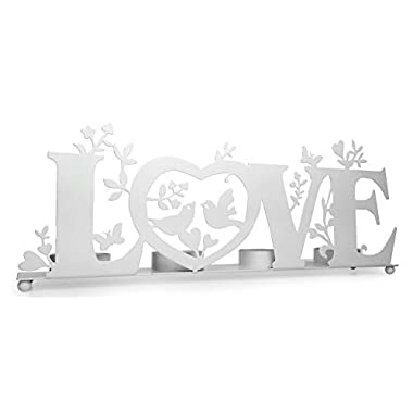 Love Candle Holder - Tea Light Candle Holder with Love, Birds and Vines - Wedding Bridesmaids - White Washed Finish
