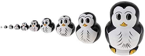 hsj Toy 10 Stück handgemaltes Penguin Figuren Russische Puppe Holz Babuschka Matroschka Stacking Dolls Home Office Decor Exquisite Verarbeitung