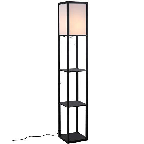 HOMCOM Stehleuchte mit Regalen Innenbeleuchtung Stehlampe E27 bis 40W für Wohn-/Schlafzimmer Holz Schwarz 26 x 26 x 160 cm