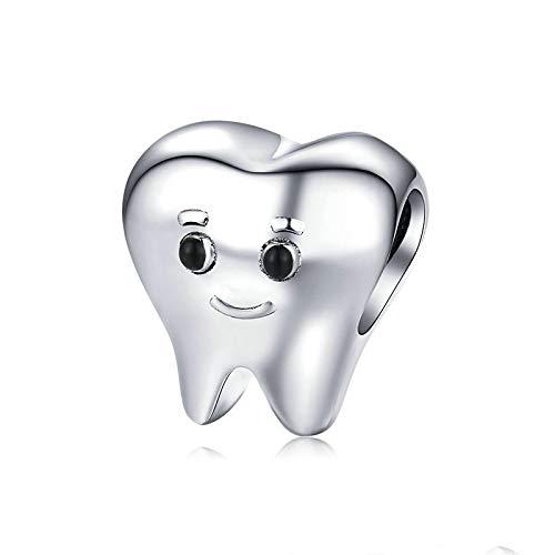 LISHOU DIY Genuino 925 Plata Esterlina Encantador Diente De Metal para Pulsera De Serpiente De Plata Bijoux Lindo Bebé Dentista Bijoux