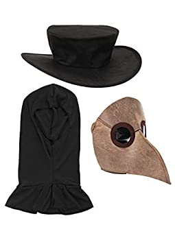 elope Bubonic Plague Doctor Cosplay Costume Mask Hat with Headsock Black