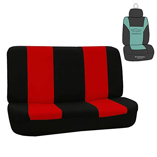 FH Group FB050R010 Universal Solid Bench Seat Cover Red/Black Color with Gift - Fit Most Car, Truck, SUV, or Van