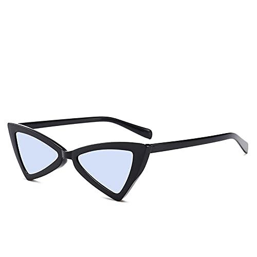 Moda Gafas De Sol De Ojo De Gato Sexis para Mujer, Diseñador De Marca, Espejo, Gafas De Sol Triangulares Negras, Gafas De Sol para Mujer, Gafas Uv400 Bblue