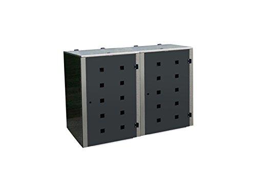 Gero metall Abfalltonnenverkleidung Eleganza Quad5 für Zwei 120 Liter Mülltonnen in Anthrazit