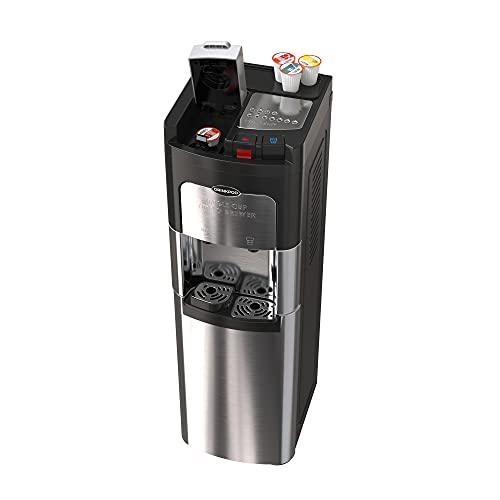 Stainless Steel Bottleless Water Cooler with Coffee Maker Dispenser. Hot and Cold Water Cooler and Single Serve Coffee Brewer in One
