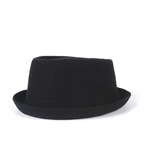 Ombra Hat Fedora Uomini Lana Pork Pie Hat papà Inverno Nero for Gentleman Piatto Cappello di Jazz Elegante (Color : Black, Size : 60-61CM)