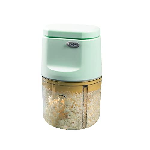 Picadora de ajo eléctrica inalámbrica USB, picadora de carne de Chile, picadora de alimentos, herramientas de cocina, procesador de alimentos recargable (Verde, 200ml)