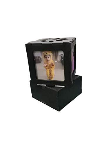 Printbob Customized LED MDF Photo Frame Rotating Night Lamp Personalized Photo Print Frame Birthday Gifts(Black, 8 X 4 inch) (8 x 4)