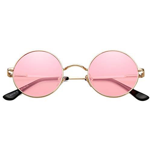 DeBuff Gafas de sol polarizadas redondas retro para mujeres y hombres, estilo Lennon pequeñas gafas de sol hippie