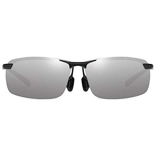 Raxinbang Gafas de Sol Gafas De Sol Antideslumbrantes Deportivas De Metal UV400 De Medio Marco, Color Naranja/Verde, Amarillo/Plateado, Gafas De Sol De Conducción for Hombre (Color : Silver)