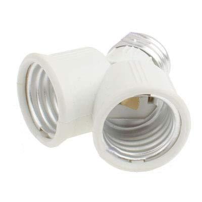 Lampadine dell'adattatore della lampada, interrutt Vendere bene E27 a E27 2 lampadine zoccolo di conversione doppia presa (bianca)