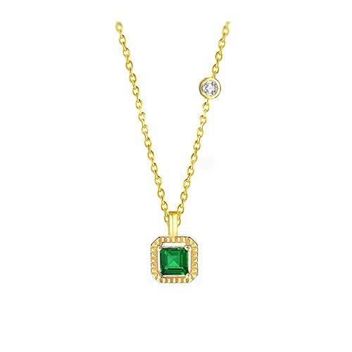 Collar de esmeralda sintética de plata esterlina 925 para mujeres retro princesa corte piedra 14k oro chapado joyería fina