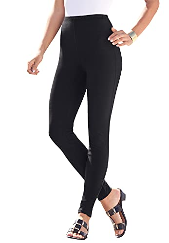 Roamans Women's Plus Size Ankle-Length Essential Stretch Legging Activewear Workout Yoga Pants - 2X, Dark Berry Animal Red