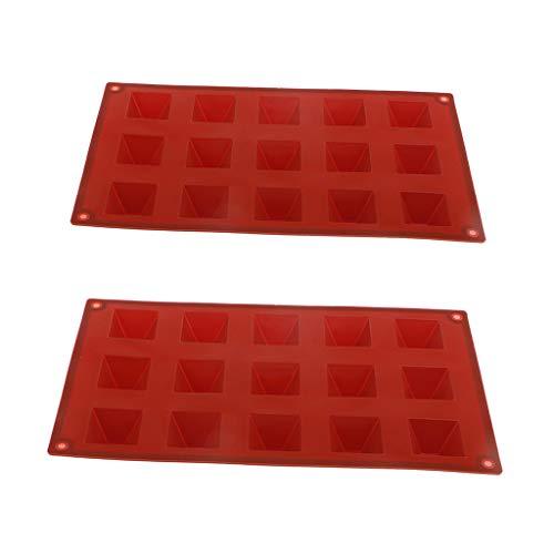 FLAMEER 2 Piezas 15 Cavidades de Silicona Forma de Pirámide Molde de Silicona Fondant Cake Moldes de Chocolate