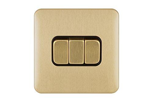 Schneider Electric GGBL1032BSB Lisse Deco 10AX 3G 2W Interruptor BSB, 240 V, latón satinado
