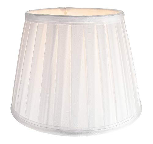Traditioneller klassischer weißer Faux Silk Plissee Innengefütterter Lampenschirm - 10