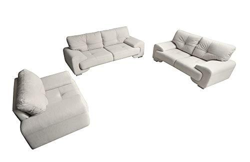 mb-moebel Polstergarnitur Sofa Set 3er & 2er & Sessel 3-2-1 Wohnlandschaft 3-Sitzer und 2-Sitzer Möbel Set - ENZO (Creme)