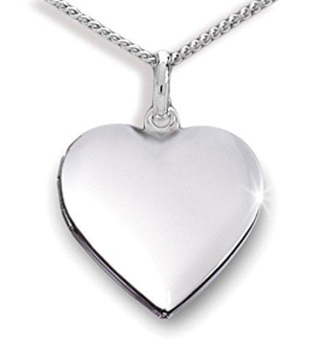 Anhänger Medaillon Herz 925 Silber Herzform zum öffnen/für Bildeinlage mit Panzerkette