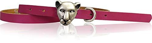 FRONHOFER Cinturón estrecho para mujer, cabeza de gato tigre, hebilla de cinturón, 1,5 cm, 18687 rosa X-Large
