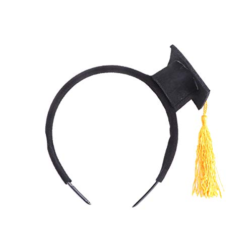 Amosfun Doktorhut Haarreif Stirnband Haarband Kopfschmuck Kopfbedeckung für Kinder Erwachsene Abschluss Party Kostüm Zubehör (Gelb)