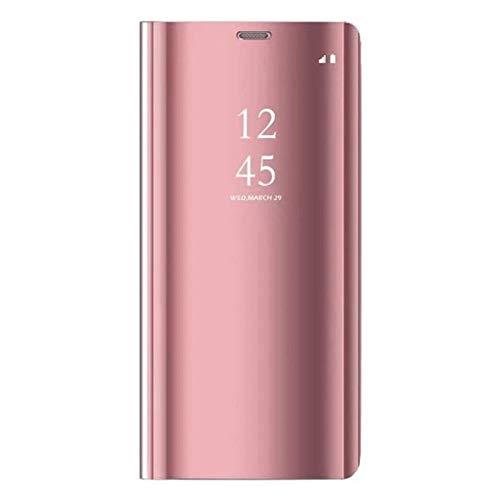 Caler Funda compatible con Samsung Galaxy S7 Edge, Funda con espejo, Cartera de cuero transparente de silicona con tapa, parachoques, Funda tipo folio oro rosado