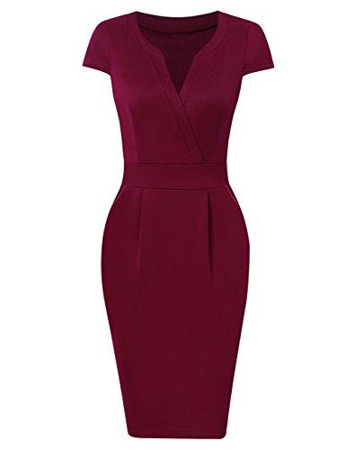 KOJOOIN Damen Elegant Etuikleider Knielang Kurzarm Business Kleider Rot Bordeaux Weinrot M