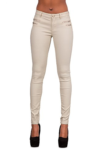 Crazy Lover Hochwertige Damenhosen, Glatte Damen Hose, Frauen Kunstlederhose, PU Lederhose Jean (36, Beige)
