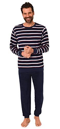 Eleganter Herren Frottee Pyjama Schlafanzug mit Bündchen - Streifenoptik - 291 101 13 787, Größe2:54, Farbe:Navy