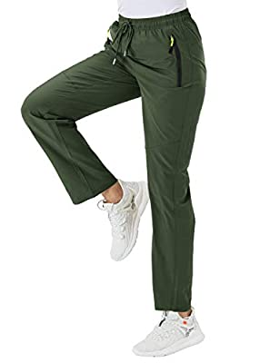BGOWATU Women's Quick Dry Hiking Pants Outdoor Lightweight Stretch Mountain Pants with Zipper Pockets (Army Green,US XXL)