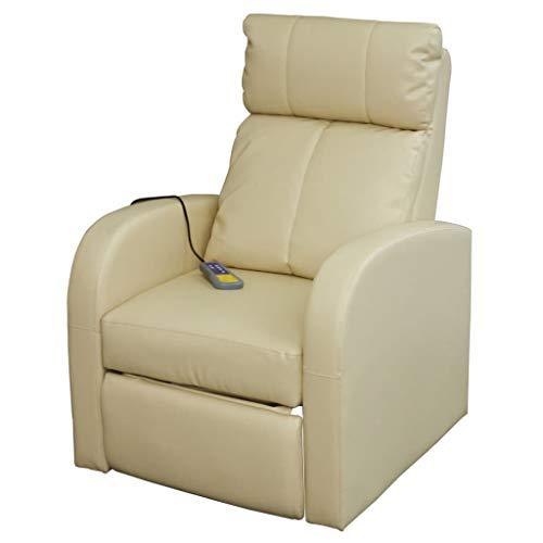 Binzhoueushopping Sillón de masaje eléctrico con mando a distancia, color crema, diseño...
