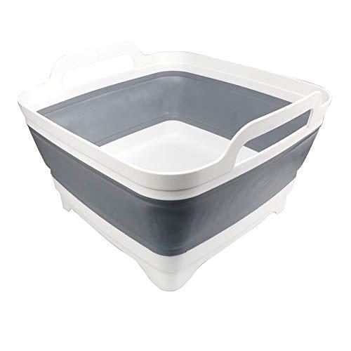 Lavabo pliable avec bouchon de vidange et poignées de transport, grande capacité de 9 L, évier de camping-car pour légumes, fruits, aliments, lessive, gris