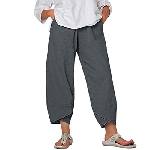 Calça capri feminina de pernas largas, casual, cintura alta, algodão, linho, solta, reta, harém com bolsos, Cinza, XG