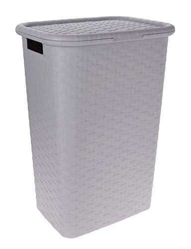 Spetebo Wäschebox in Flechtoptik 65 Liter - grau - Wäschetruhe Wäschekorb