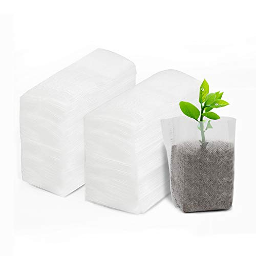 ENPOINT Plant Seedling Bags, 200pcs 4.3x5.5 inches Non-Woven Nursery Bag, Garden Grow Bags for Plants Seedlings, Fabric Seed Starter Seedling Grow Pots Pouch Home Garden Supply