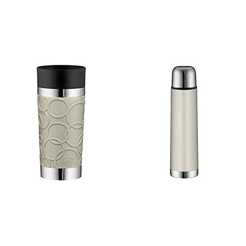 alfi To-Go Genuss Set bestehend aus Kaffeebecher isoMug Plus Soft, Edelstahl Silver Lining 0,35 l + Isolierflasche isoTherm Eco, Edelstahl Silver Lining 0,75 l, für Heiß und Kalt, 100% dicht, BPA-Free