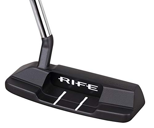Rife Golf Roll Groove Technology Series Right Handed RG2 Widened Heel Blade Putter Precision Milled Face Edge Cavity and Bumpers Ensures an Ideal Weight Distribution and Balance (Right, 35)