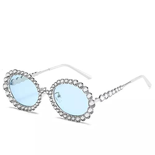 BAJIE Gafas de Sol Nueva Personalidad Gafas de Sol para Mujer con Diamantes de la Industria Pesada Gafas de Sol de Metal con Montura Redonda a la Moda