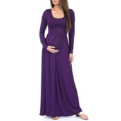 Mother Bee Maternity Long Sleeve Womens Ruched Dress with Pockets by Rags and Couture